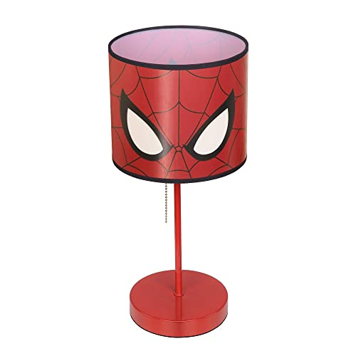 Lintat 15.5 Marvel Spiderman Table Lamp for Kids, Red Desk Lamp W Shade and UL Cable, Christmas Gift for Children