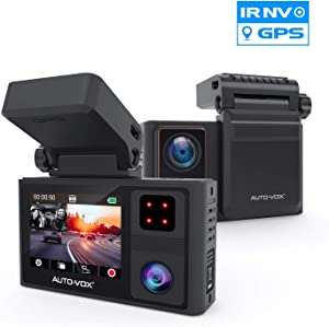 AUTO-VOX Dual Dash Cam Front and Inside 1920x1080P,Infrared Night Vision,Integrated Design of Built-in GPS with Magnetic Bracket in Car Dashboard Camera, 24Hours Parking Mode,Sony Sensor by Aurora