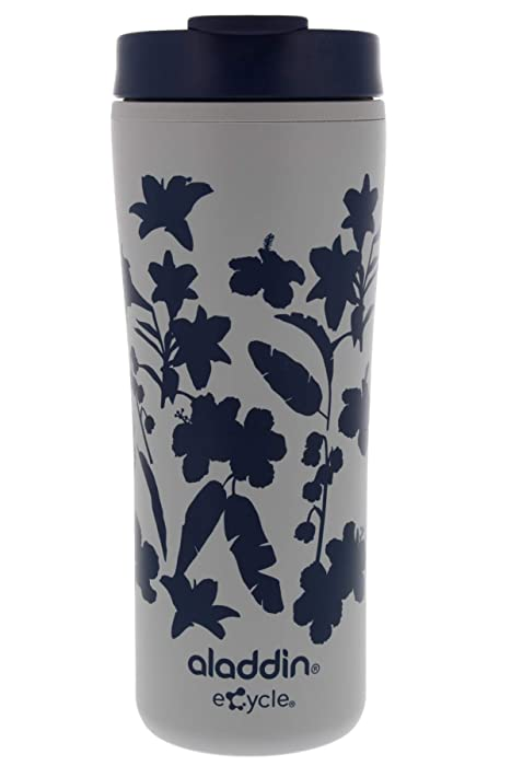 Aladdin eCycle Coffee Travel Mug, 16oz Tumbler with Leakproof Lid – An Ideal Recycled and Recyclable Travel Coffee Mug, Take Your Drink on the Go – Insulated Coffee Mug Fits in Cupholder, Navy Floral