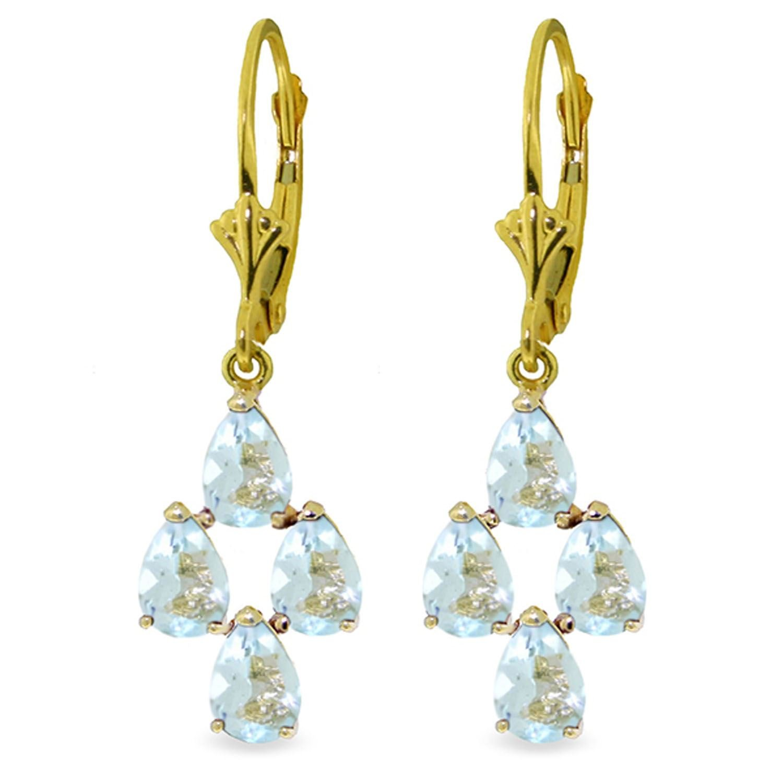 ALARRI 3.9 CTW 14K Solid Gold First Love Aquamarine Earrings