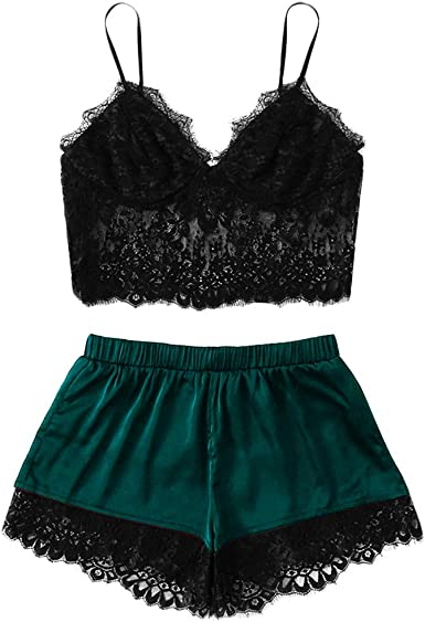 Apperloth 2 Piece Lingerie for Women Pajama Set Lace Cami Top with Shorts Sleepwear Nightwear