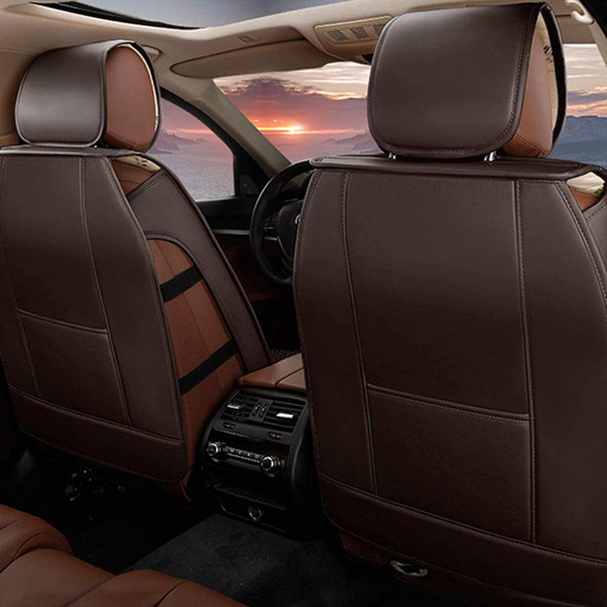 Truck for Mercedes-Benz Universal 5-Seats Car Seat Covers PU Leather Waterproof Seats Cushion All Season Fit Most Car or Van Front Seat+Rear Seat 5Pcs Standard Edition Brown SUV