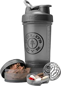 Blender Bottle Gold's Gym ProStak 22 oz. Shaker with Twist N' Lock Jars - Gray