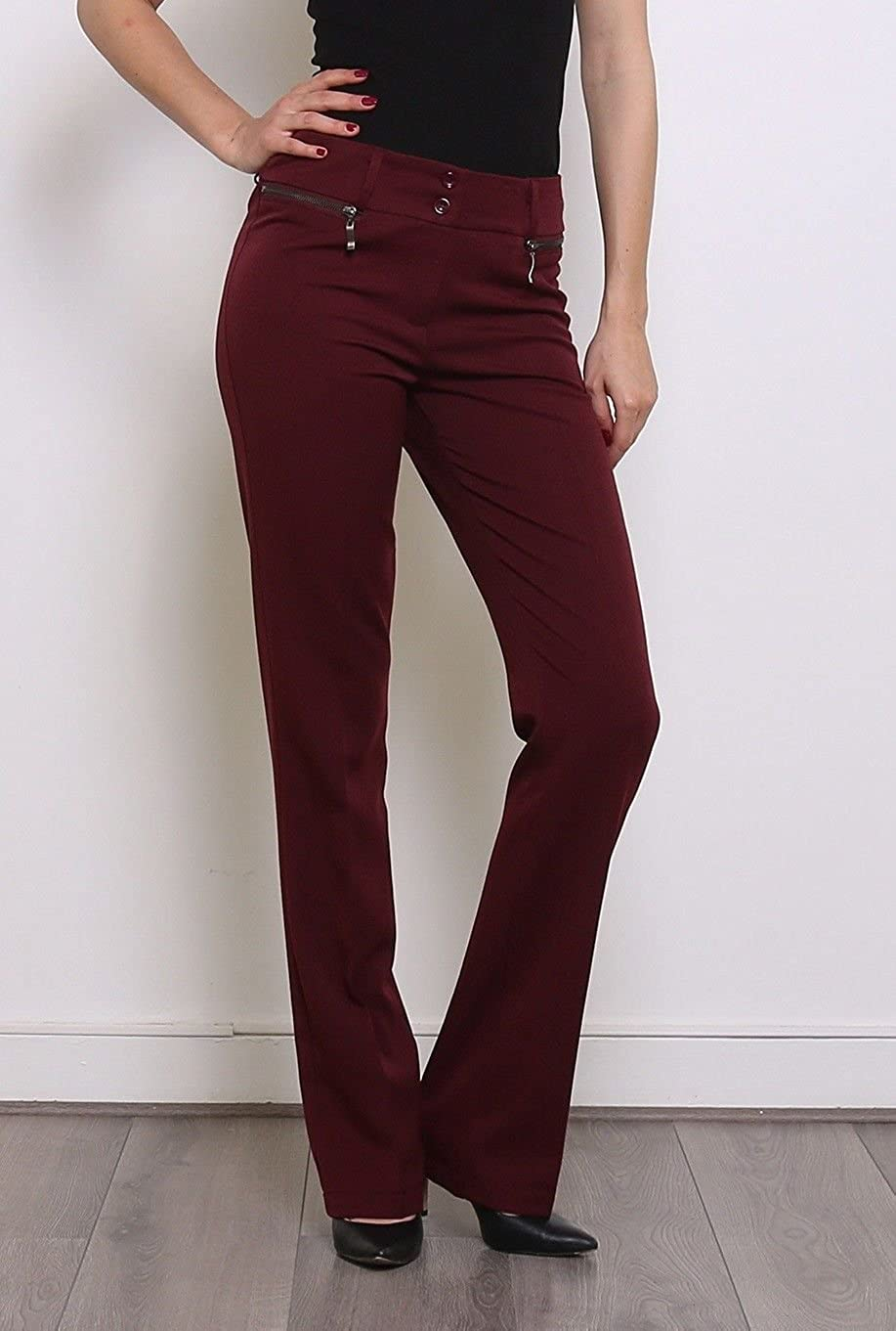 Low Rise Classic Bootcut Trousers Tailor Fit Women/'s Office Style Trousers 6-14