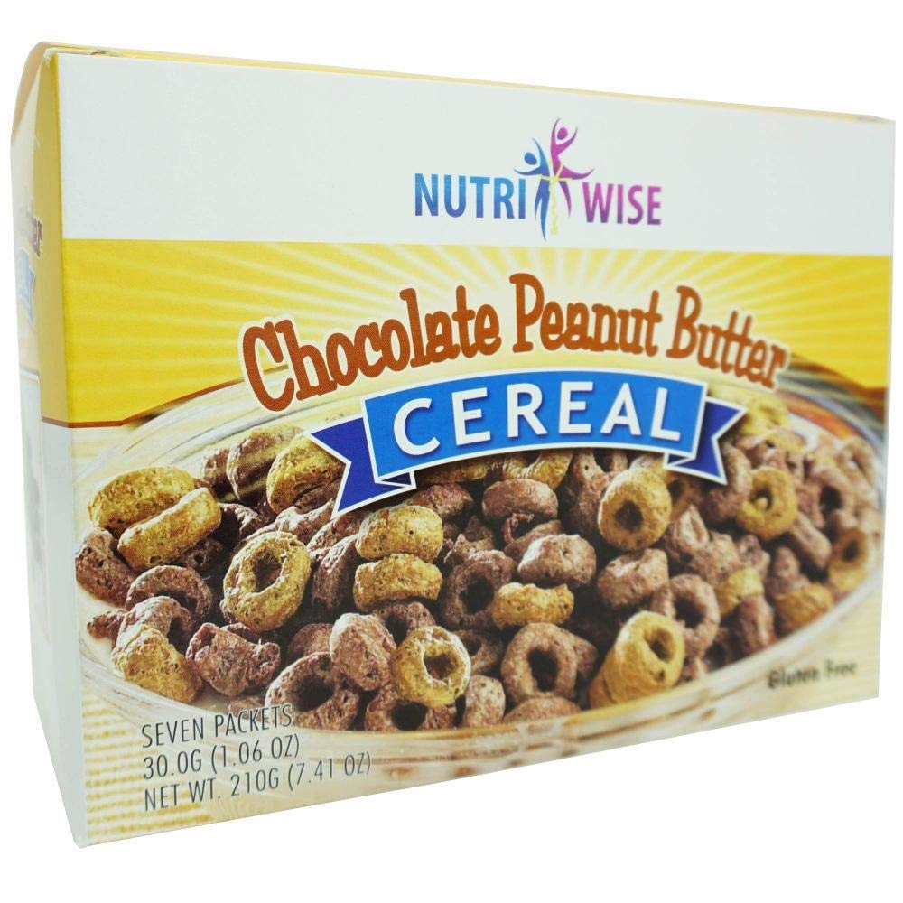 NutriWise - Chocolate Peanut Butter Cereal | 7/Box Healthy Delicious Breakfast | Gluten Free, High Protein, Low Carb, Low Sugar, Low Calorie