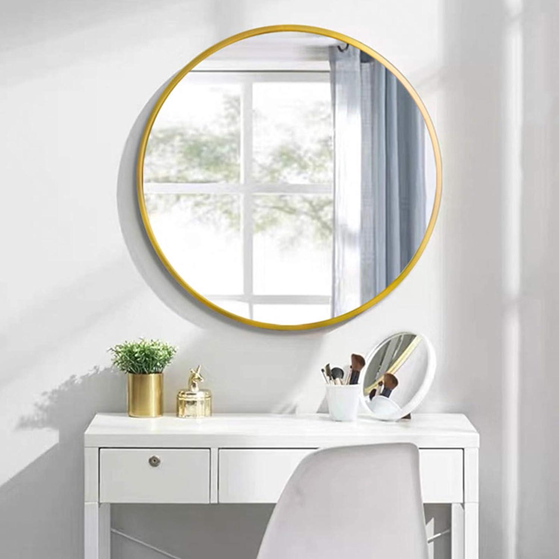 AUFHELLEN Rund Spiegel mit Gold Metallrahmen HD Wandspiegel aus Glas 7cm  für Badzimmer, Ankleidezimmer oder Wohnzimmer Schminkspiegel (Gold, 7cm)
