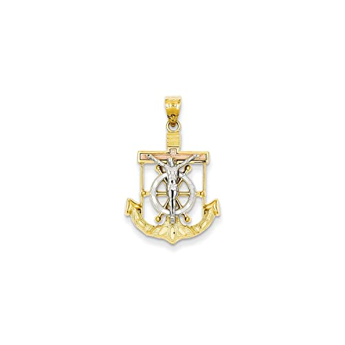 Roy Rose Jewelry 14K Tri-Color Gold Diamond-cut w/Textured Mariner's Cross Pendant