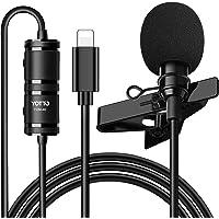 YOTTO Micrófono de Solapa Lavalier Conector Omnidirectional Condensador Micrófono 6.5M de Video Audio para iPhone iPad…