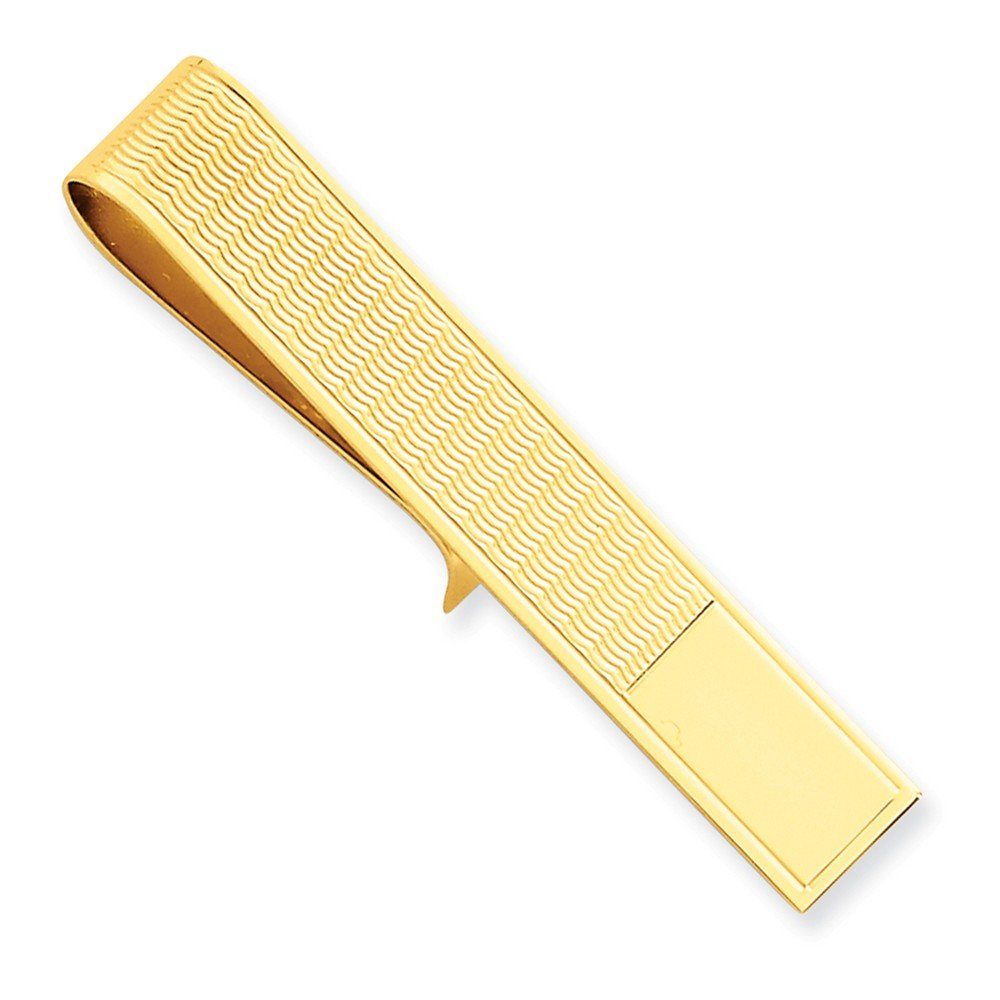 14k Yellow Gold Tie Bar with Wave Detail by CoutureJewelers