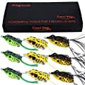 TROUTBOY Frog Fishing Lure, Hollow Body Frog Topwater Soft Baits Lures for Bass Pike Snakehead Dogfish Musky (Pack of 9) from TROUTBOY