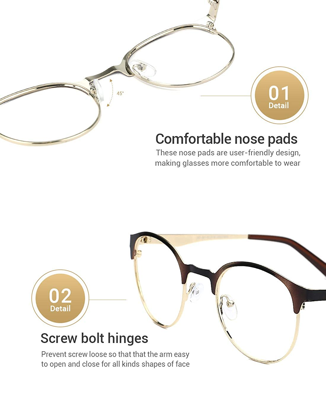 d9c833736e038 Brillenfassungen TIJN Neue Rund Metall Brillengestelle Herren Brille Ohne  Stärke Metallgestell Brillenfassung Damen Herren Accessoires