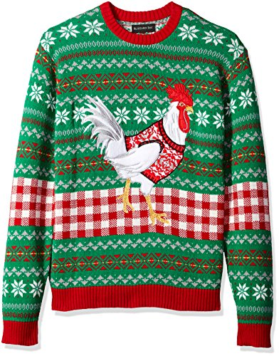 Suit Christmas Sweater (Blizzard Bay Men's White Chicken Crew Neck Ugly Xmas, Green/Red Combo,)