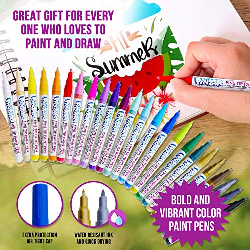 PINTAR - Acrylic Fine Tip Paint Pens For Rock Painting Art - 24 Pack Vibrant Colors for Wood, Glass, Metal and Ceramic - Water Resistant and Quick Drying Ink For Arts & Crafts by PINTAR (Image #4)