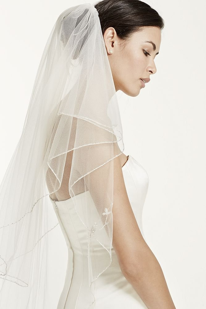 Two Tiered Veil with Beaded Metallic Detail Style VCT258S, Gold by David's Bridal (Image #3)