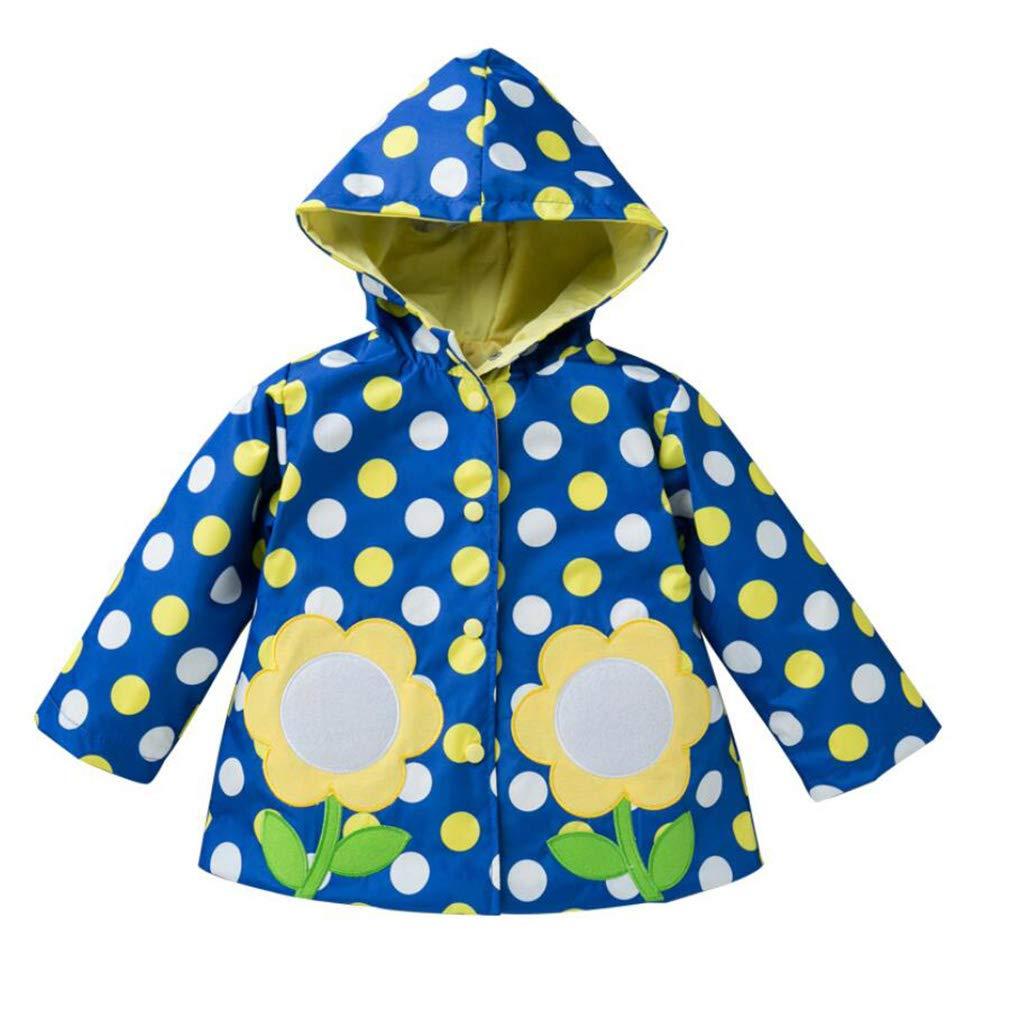 Mädchen Windjacke Kinder Storm Break Wasserdichte Jacke niedlich Bedruckte Kapuzenjacke RegenMantel 2-6 Jahre alt