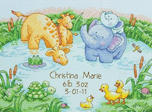 Dimensions 70-73697 Little Pond Birth Record Counted Cross Stitch Kit-12X9 14 Count