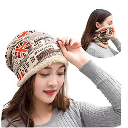 23146334f44d0 1PCS Unisex Multi Purpose Warmer Scarf and Imitation Cashmere Hat  Fashionable Rice Pattern Double Layer Headwear