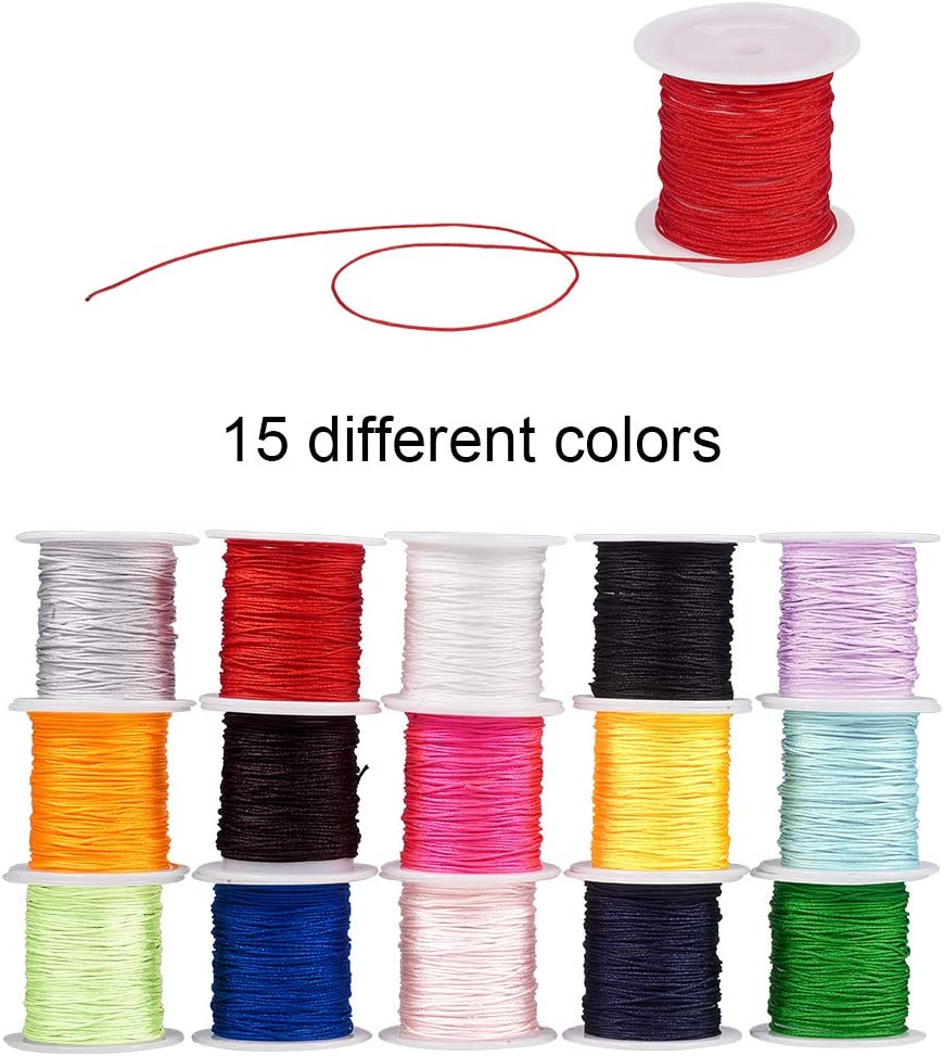 Total aboout 480m PandaHall Elite 20 bundles 24m//bundle 1mm Chinese Knotting Cord Nylon Thread Beading String Wire Knotting Thread Cord 20 Mixed Colors