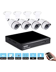 Tonton 8CH Full HD 1080P Expandable Security Camera System, 5-in-1 Surveillance DVR and (4) 2.0MP Waterproof Outdoor Indoor Bullet Camera, Free APP Remote Viewing and Email Alert( No Hard Drive Included)
