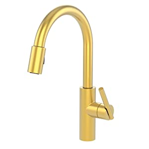 Newport Brass 1500-5103/04 Satin Brass (PVD) East Linear Kitchen Faucet with Metal Lever Handle and Pull-down Spray