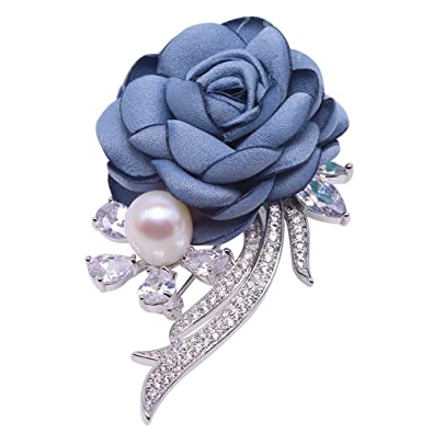 Fine Fabric Blue Rose-shaped 9mm White Freshwater Pearl Brooch Pin