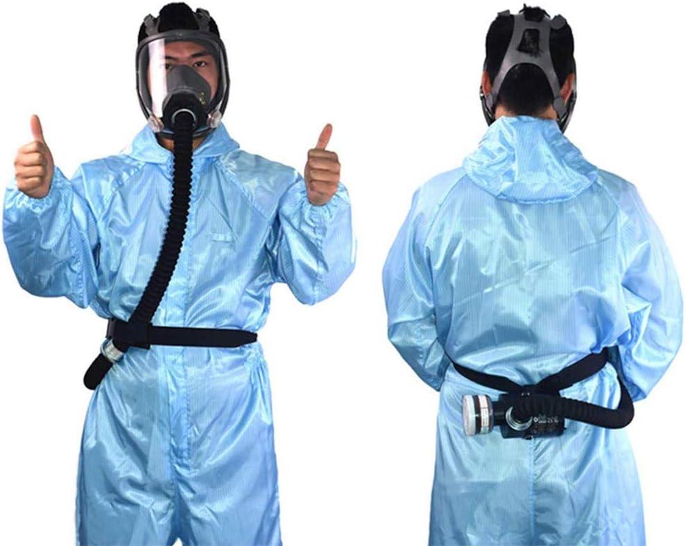 Isunking Máscara de Respirador de Seguridad, Sistema de Respirador Portátil con Máscara de Gas de Cara Completa Alimentada por Aire de Flujo Constante Eléctrico (Negro)