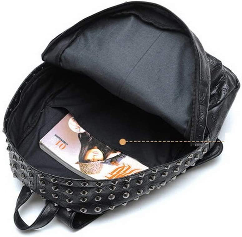 HUYANNABAO Fashion Luxury Leather Ladies Backpack Large Capacity Travel Bag Punk Style Youth Casual School Bag Knapsack