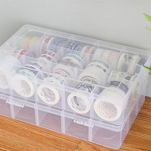 Heaviesk 15 Rejillas Caja de Almacenamiento de Cinta de Escritorio Mini Caja de Cinta Adhesiva de Papel Caja de plástico Transparente Manualidades Organizador: Amazon.es: Hogar