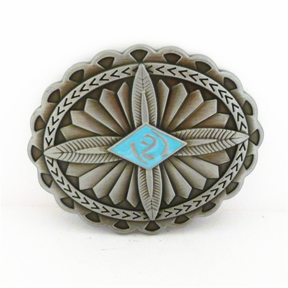 Indian Belt Buckle Oval Cross Totem Metal Buckles changsheng