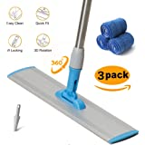 MOP For Wood Floor,3 Wet&Dry Reusable Refill Microfiber Duster for Tie Hardwood Cleaning