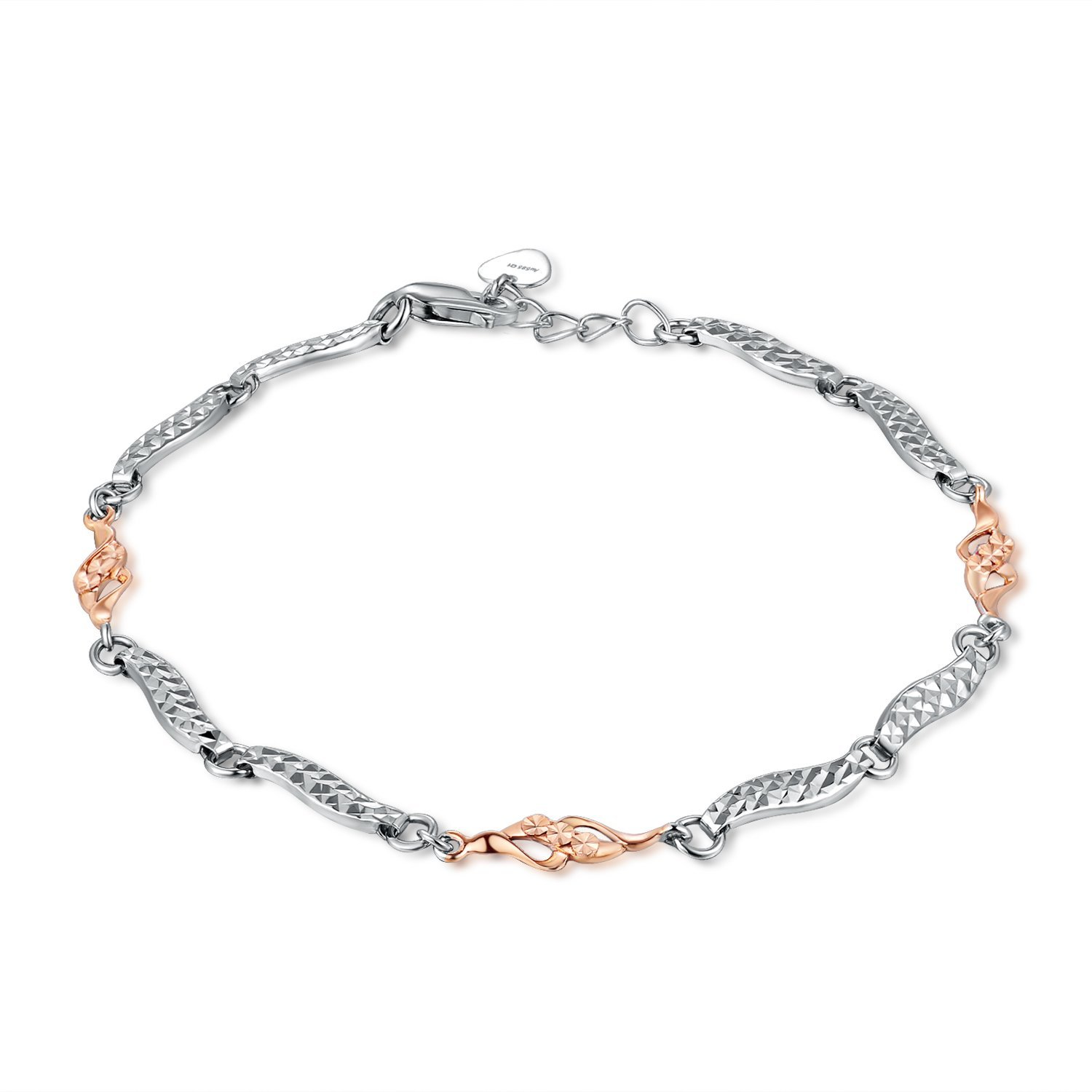 MaBelle 14K Rose and White Gold Infinity Segment Bracelet (6.5'')