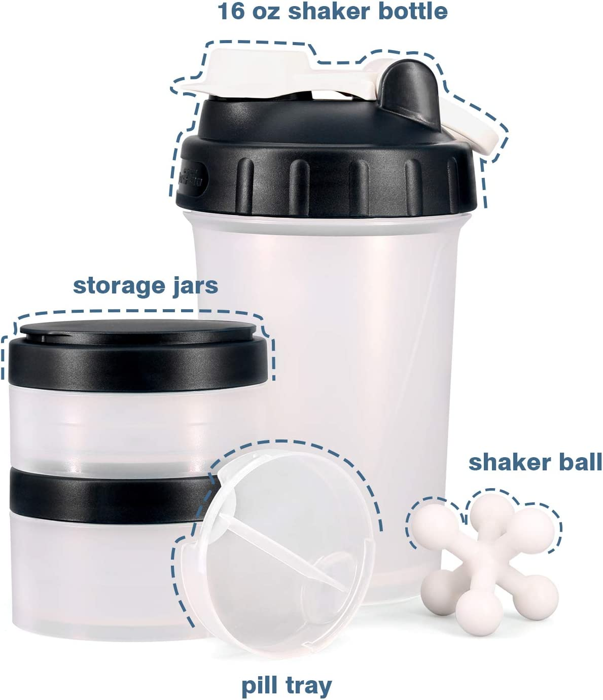 [Promotion] 16 OZ Protein Shaker Bottle with Mixer Ball and 2 Interlocking Storage Jars for Pills, Snacks, Coffee, Tea. 100% BPA Free,Non Toxic and Leak Proof Sports Bottle