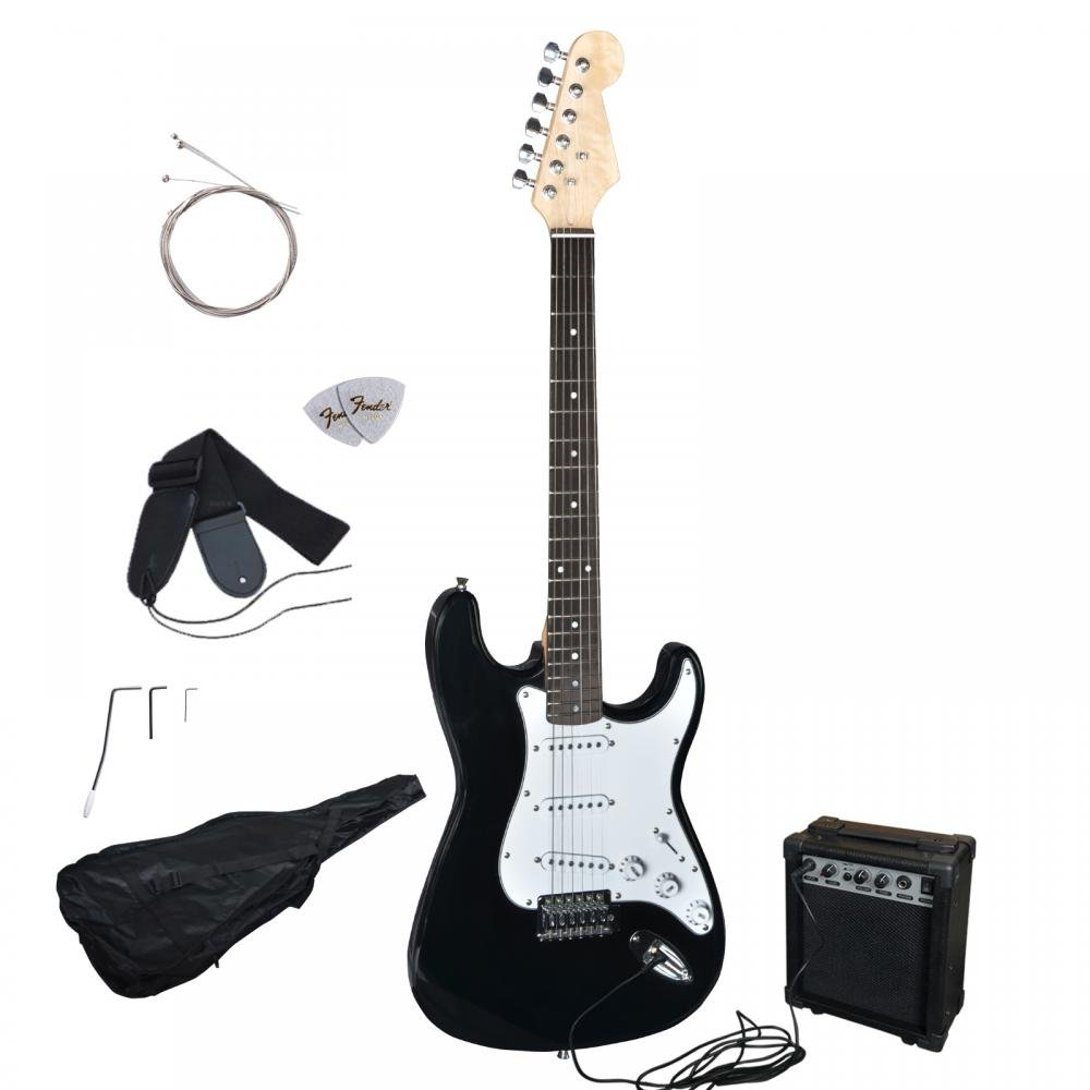 Amazon New Black Electric Guitar With Amp Case And Accessories Pack Beginner Starter Musical Instruments