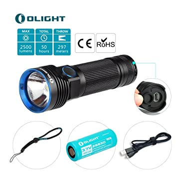 Olight R50 Seeker 2500 Lumens Lampe Torche Led Rechargeable