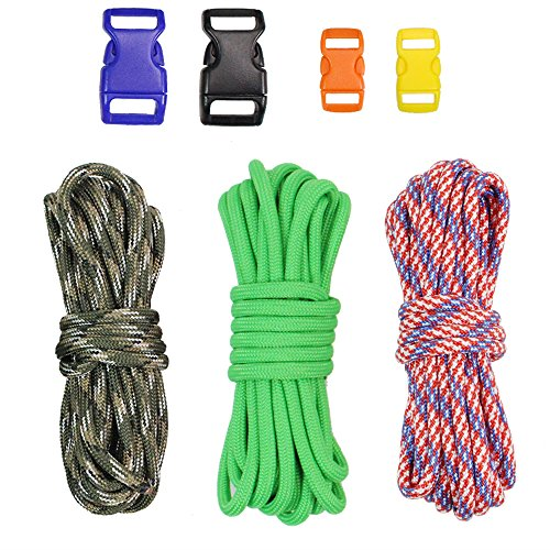 PSKOOK DIY Paracord Kits Make Bracelet Survival Parachute Cord Crafts 550 Tinder Cord Rope Braiding Wrist Bands with Buckles Multi Color (Freedom-CG)