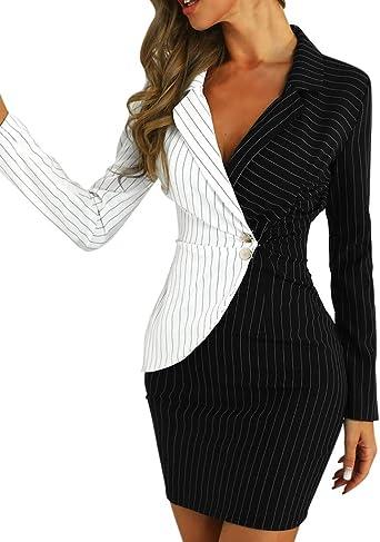 Loopardo Mantelkleid Damen Business Blazer Kleid Langarm Bleistiftkleid Frauen Herbst Winter Mode Zweireihiger Gro/ßE Gr/ö/ß Revers Elegant Mini Blusenkleid /Übergangskleid Mit Tasche