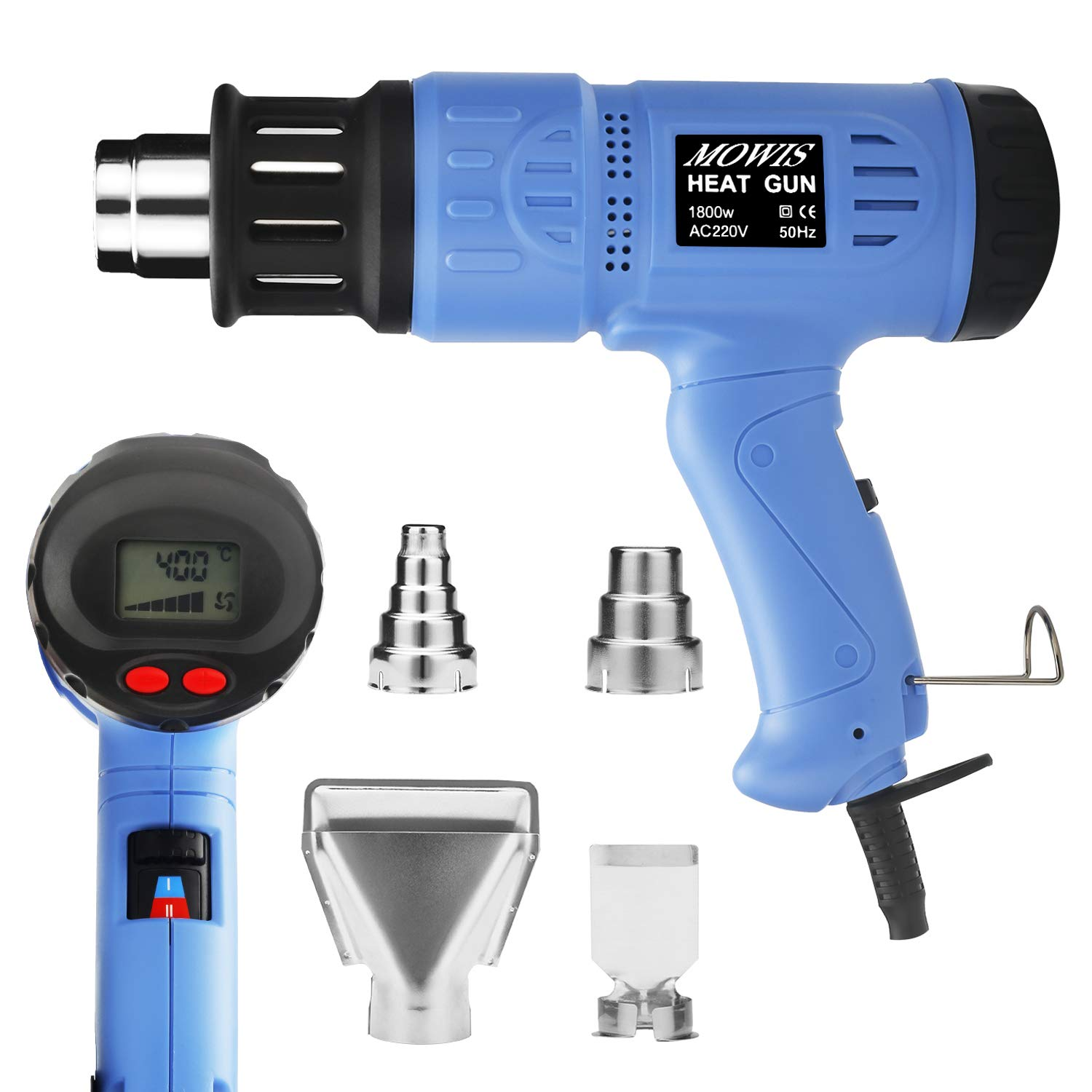 1800W Heat Gun MOWIS Professional Hot Air Gun Kits Adjustable Temperature (100-600℃) with Digital LED Display 240V 50Hz Electric Heat Gun for Shrinking PVC, Stripping Paint, DIY Embossing Shrink Wrapping Drying Paint