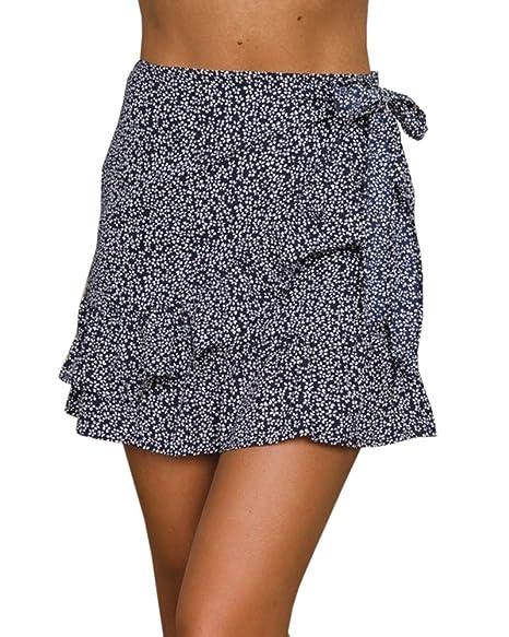 613d1a6d4 Amazon.com: Jeanewpole1 Womens Floral A Line Mini Skirts Wrap ...