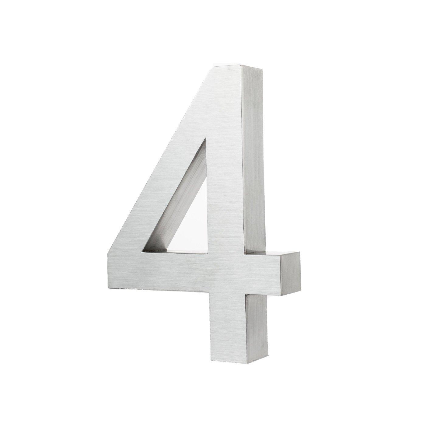 3D-Hausnummer 6 aus Edelstahl rostfreie /& witterungsbest/ändige Hausnummern im 3D-Effekt in 20cm Montagematerial Tiefe aus geb/ürstetem Edelstahl inkl V2A H/öhe x 3cm