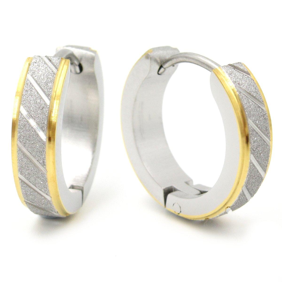 Stainless Steel Mens Hoop Earrings Stripe Bevel Edge Black Gold Color 16mm Steelmeup 28N-001