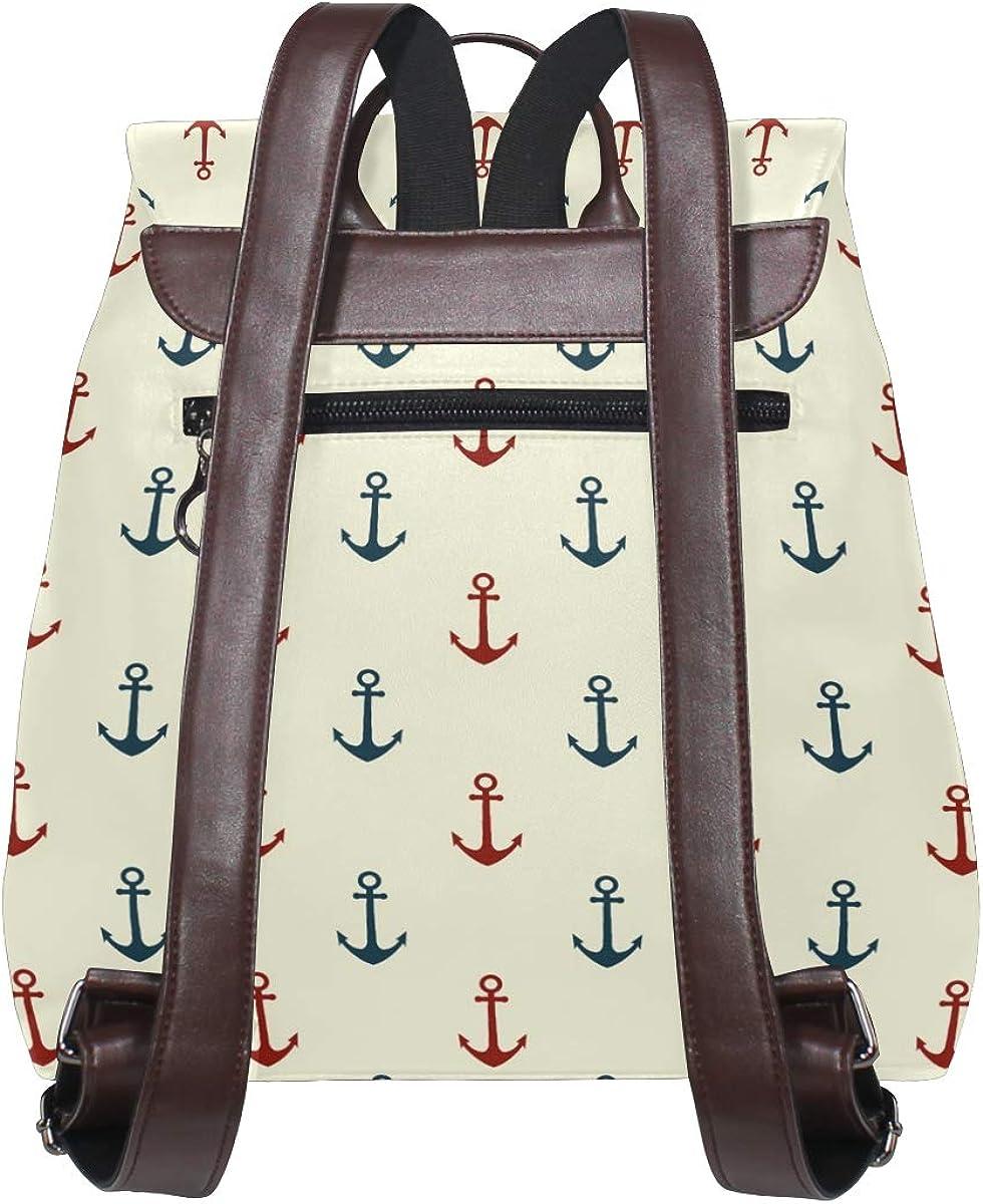 KEAKIA Women PU Leather Sweet Nautical Backpack Purse Travel School Shoulder Bag Casual Daypack