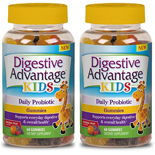 Digestive Advantage Kids Daily Probiotic Gummies, 60 Count (Pack of 2)