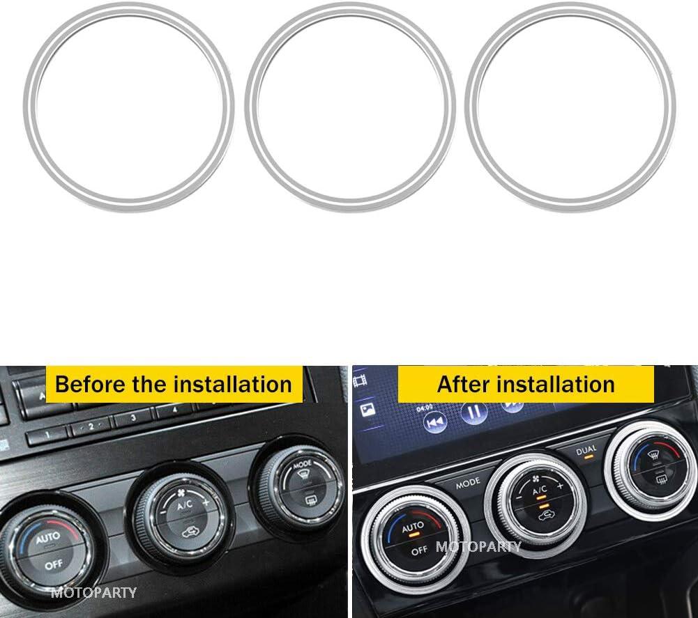 Motoparty AC Climate Control Knob Outer Ring Covers For Subaru WRX STI Impreza Forester XV Crosstrek Control Switch Outer Ring Covers,Red Anodized Aluminum