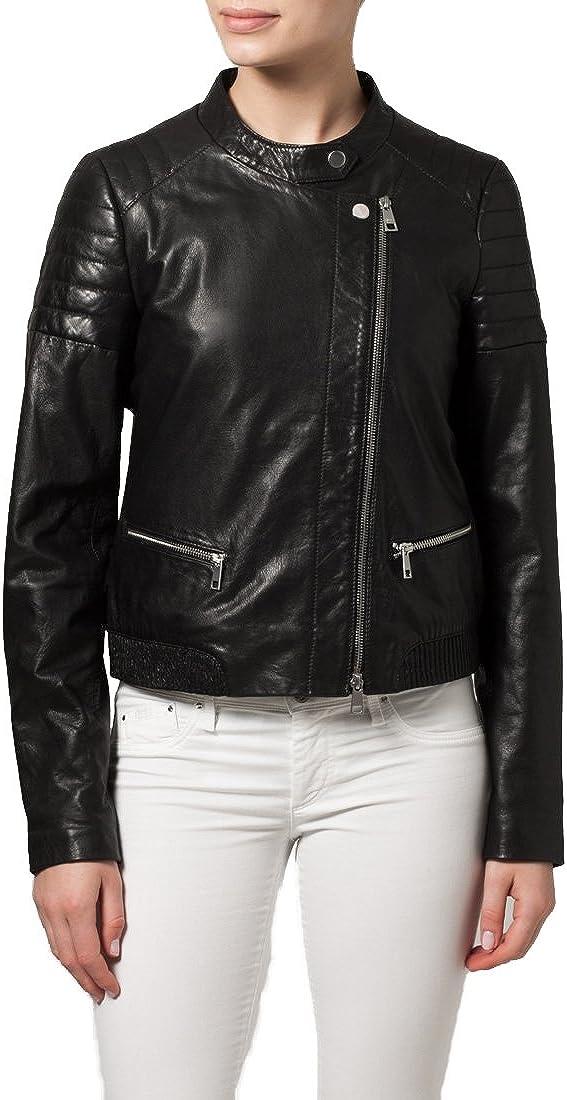 New Women Motorcycle Lambskin Leather Jacket Coat Size XS S M L XL XW133