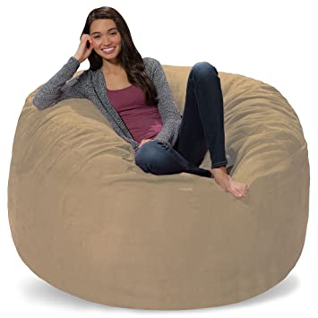 Lovely Comfy Sacks 5 Ft Memory Foam Bean Bag Chair, Camel Micro Suede