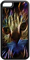Neon Cat Art- Case for the Apple Iphone 5C- Hard Black Plastic Snap On Case with Soft Black Rubber Lining
