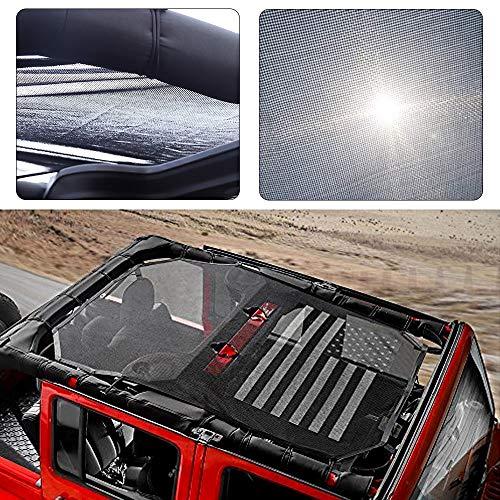 Black Durable Sunshade Mesh Top Cover Provides UV Sun Protection for 2007-2017 Jeep Wrangler JKU 4 Door America US Flag