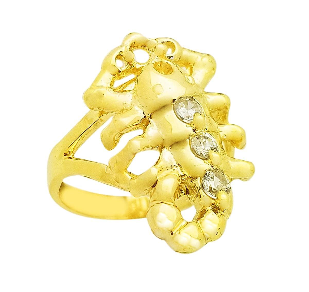 AMZ Jewelry 10K Yellow Gold Scorpion Pinky Ring Scorpio Zodiac Sign Ring Size 7
