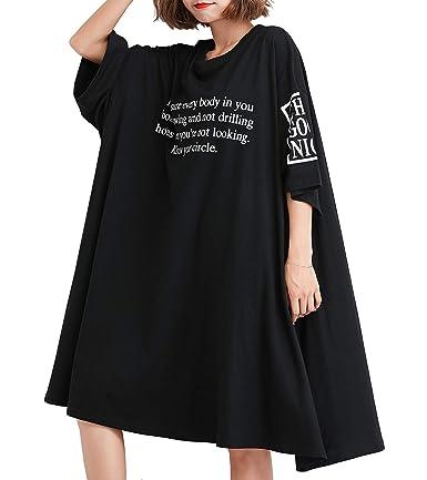Ellazhu Women's Scoop Neck Letter Print Oversized Black T Shirt Dress For Summer Ga1425 by Ellazhu