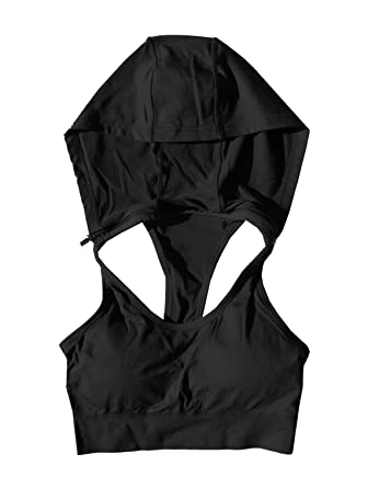 a34d3a8879 Runner Island Black Womens Sports Bra Hoodie High Impact No Bounce for Running  Track and Field